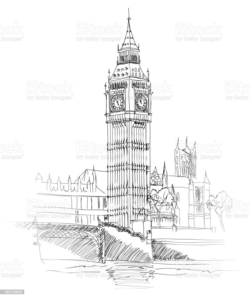 Landscape of London, UK. Big Ben Tower. vector art illustration
