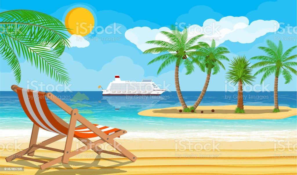 Landscape of palm tree on beach vector art illustration