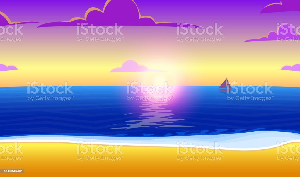 Landscape Of Paradise On The Ocean Beach With Sunset Tropical Island Sea And Sunrise