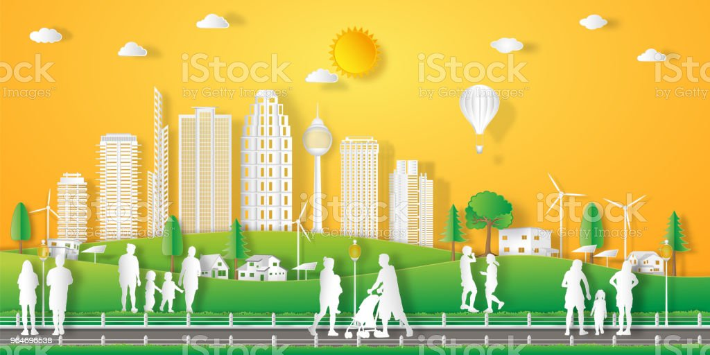 landscape of peoples exercise and relax in the morning city on summer, fresh air in the park as nature, healthy, paper art and craft style concept royalty-free landscape of peoples exercise and relax in the morning city on summer fresh air in the park as nature healthy paper art and craft style concept stock vector art & more images of art