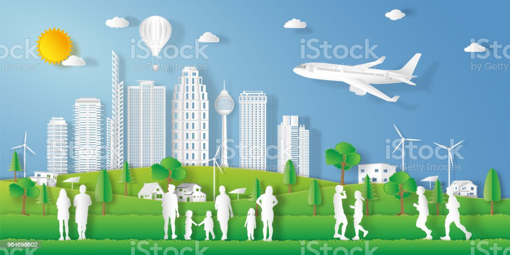 landscape of peoples exercise and relax in the morning city on summer, fresh air in the park as nature, healthy, paper art and craft style concept. vector illustration vector art illustration