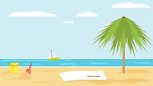 Landscape of sea of sandy tropical beach with palm tree on clear summer day. children's bucket and shovel in the sand. blanket and a book on sand of beach. Vector flat. Beach seascape. Rest on sea.