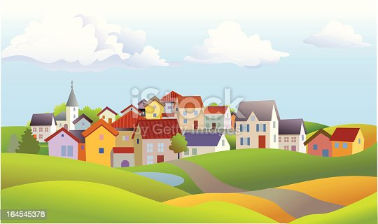 istock Landscape of Small Town with Church and Rolling Hills 164545378