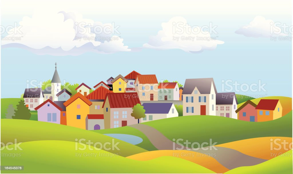 Landscape of Small Town with Church and Rolling Hills vector art illustration