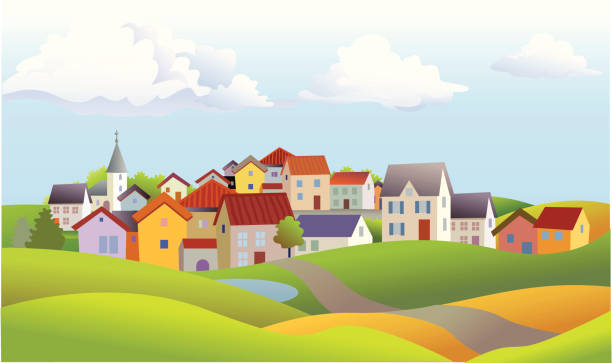 Landscape of Small Town with Church and Rolling Hills Summer landscape with many different homes and a church town stock illustrations
