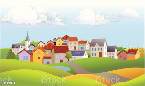 Summer landscape with many different homes and a church