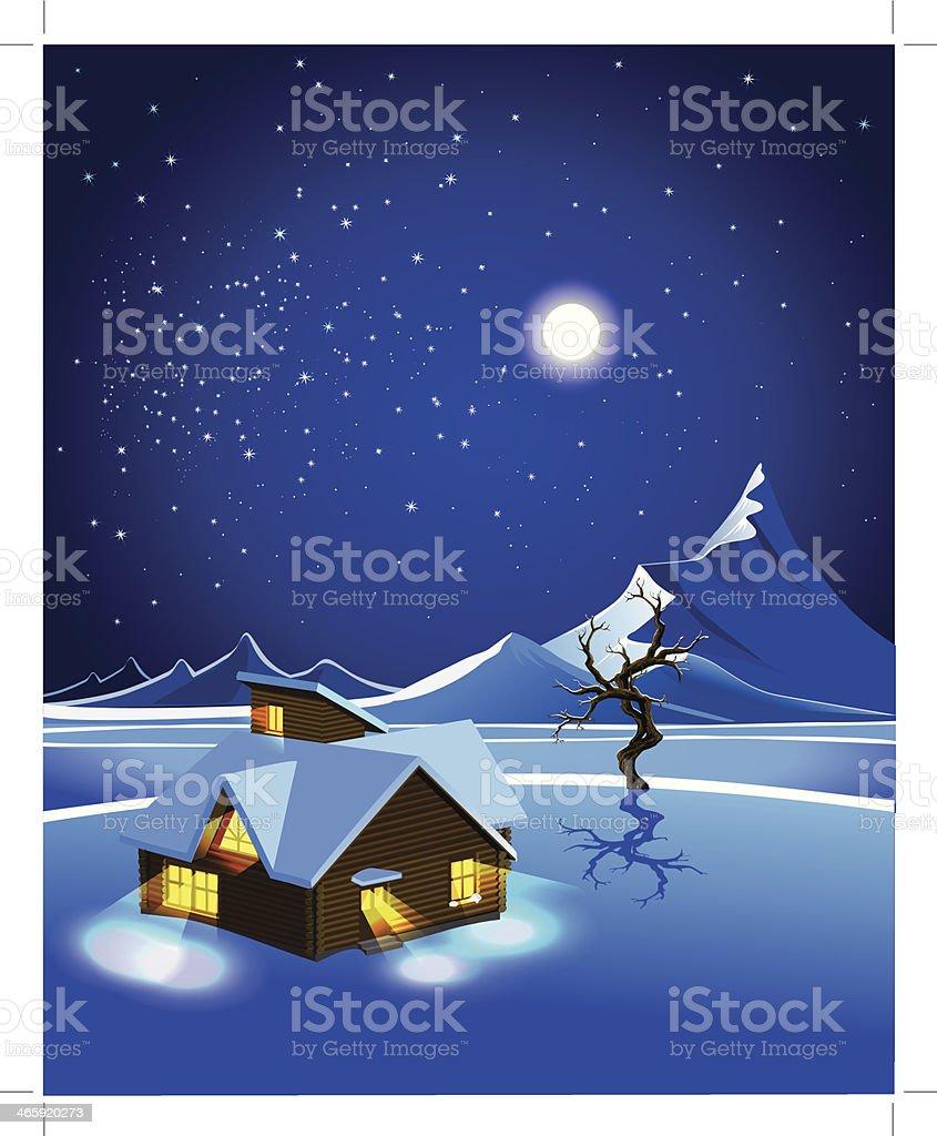 landscape of snow at night vector art illustration