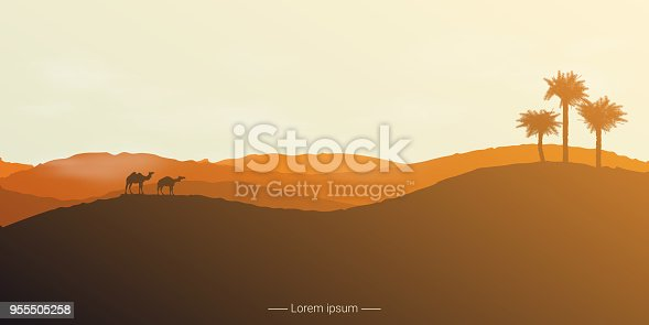 Landscape of the desert with camels and palm trees. Vector illustration