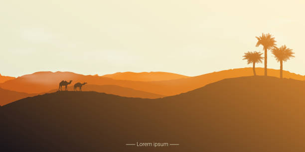 Landscape of the desert with camels and palm trees. vector art illustration