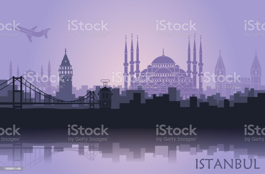 Landscape of the Turkish city of Istanbul. Abstract skyline with the main attractions vector art illustration