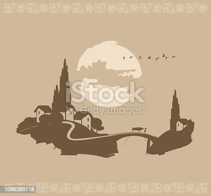 Vector landscape of a Chinese village with a cow on the bridge and a flying flock of birds at sunset or sunrise