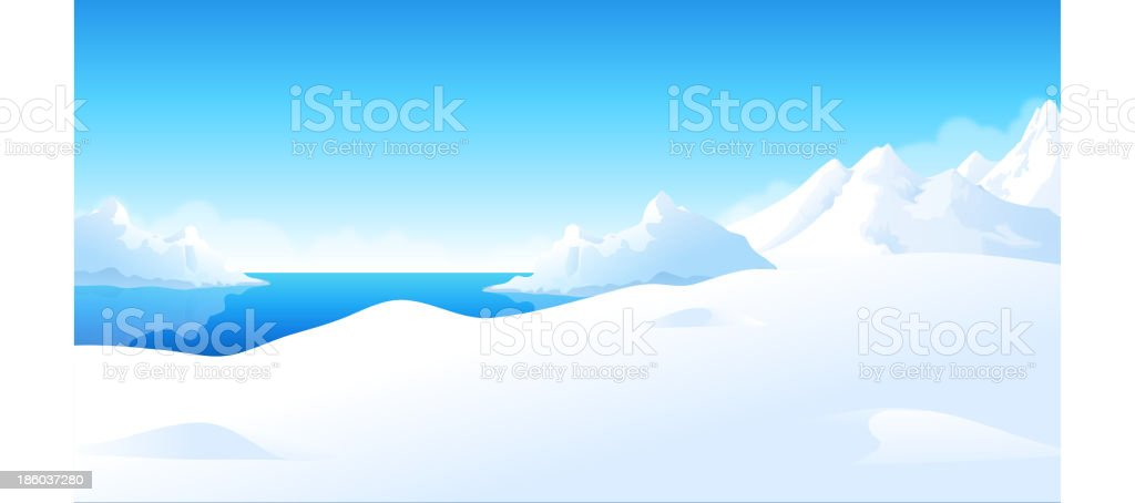 Landscape of white icebergs against the old blue sea vector art illustration