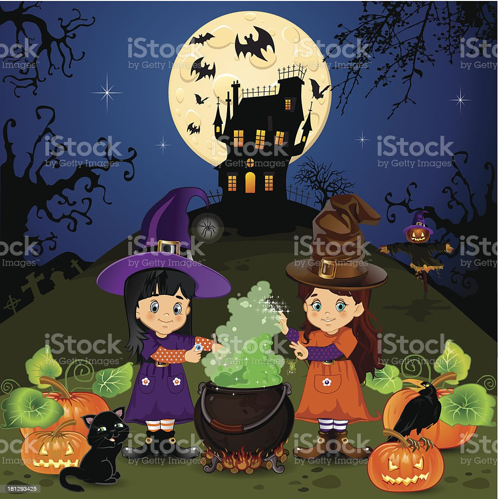 Landscape of witches halloween royalty-free stock vector art
