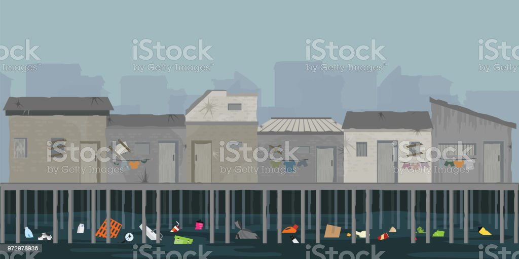 Landscape of wooden house on the riverbank with garbage. vector art illustration