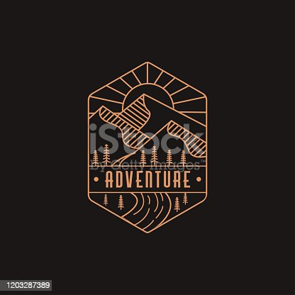 Emblem mountain and river landscape adventure logo icon with line art style