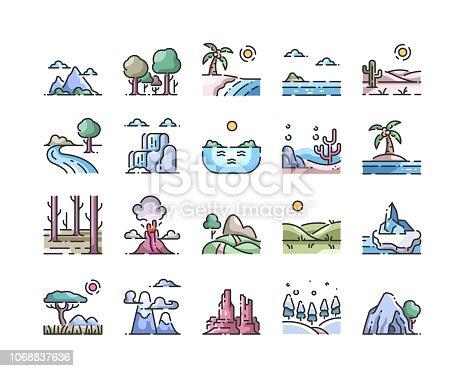 Landscape outline color icon set,vector and illustration