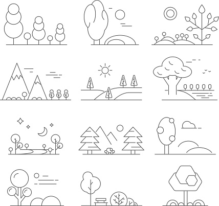 Landscape outline. Mono line symbols of trees and outdoor parks