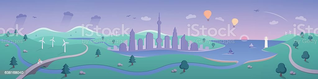 Landscape Panorama with Beautiful Sunrise vector art illustration