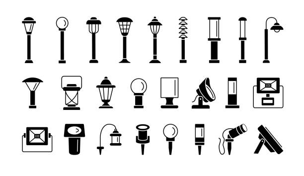 Landscape path lights for patio, deck & yard. Outdoor garden lighting. Vector flat icon set. Isolated objects. Landscape path lights for patio, deck & yard. Outdoor garden lighting. Vector flat icon set. Isolated on white background. outdoors stock illustrations
