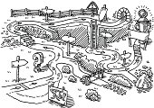 Hand-drawn vector drawing of a Landscape Path Success Concept. Black-and-White sketch on a transparent background (.eps-file). Included files are EPS (v10) and Hi-Res JPG.