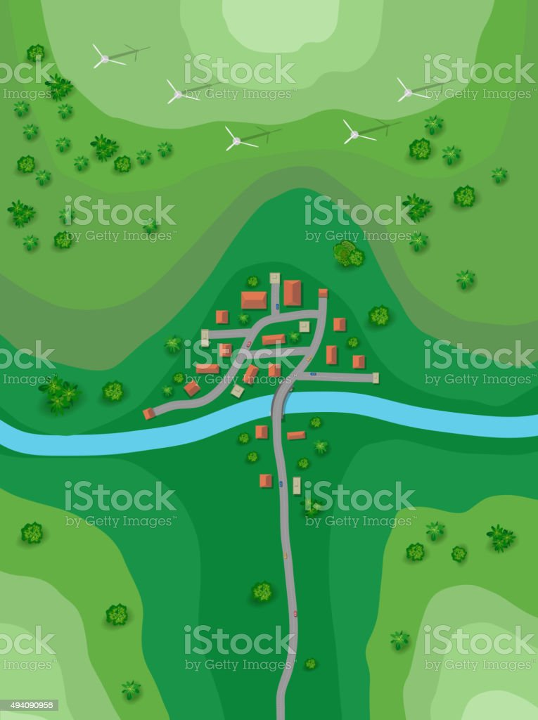 Landscape plan vector art illustration