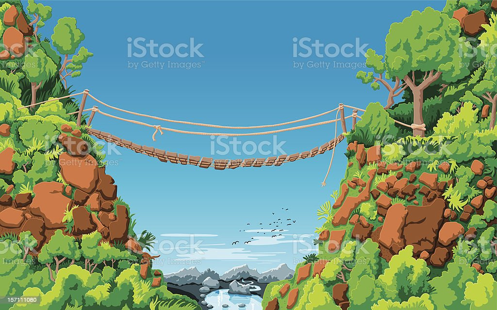 Landscape Rope Bridge Gully royalty-free stock vector art