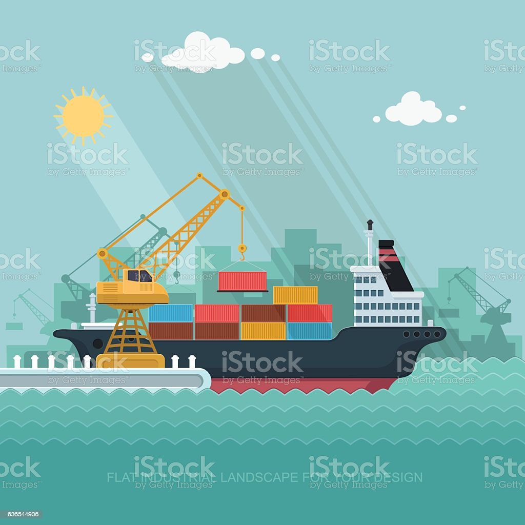 Landscape seaport. crane which unloads. Carrier, Ship. Flat vector illustration vector art illustration