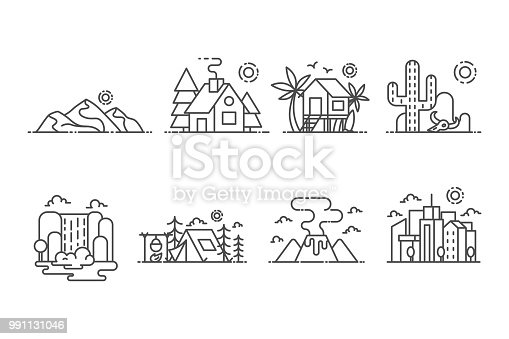 Landscape set of vector icons outline style