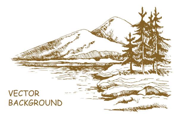 Landscape sketch Alaska background Alaska skyline sketch. Illustration of mountains scenery and lake with alaska pine trees, hand drawn isolated on white background. lakes stock illustrations