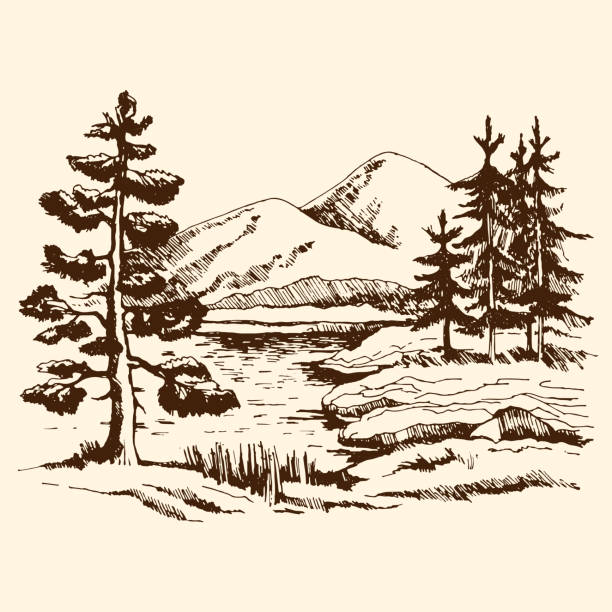 landscape sketch canada - black and white mountain stock illustrations, clip art, cartoons, & icons