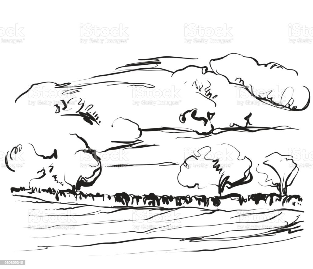 Landscape sketch drawing. Trees and mountains royalty-free landscape sketch drawing trees and mountains stock vector art & more images of agriculture