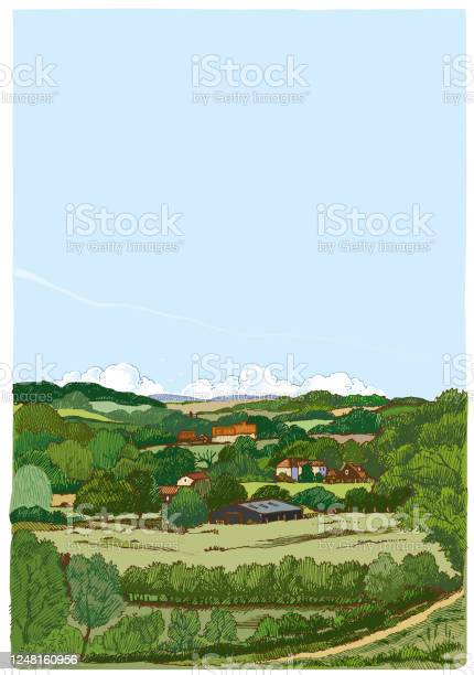 Landscape Sketch In Pen And Ink Stock Illustration Download Image Now Istock