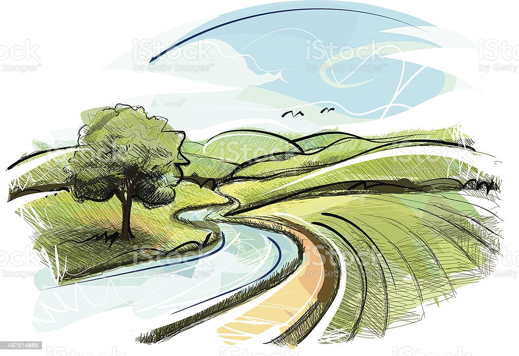 Landscape sketch vector art illustration