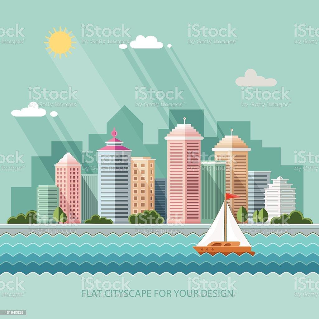landscape summer cityscape illustration. city design, Flat style vector art illustration