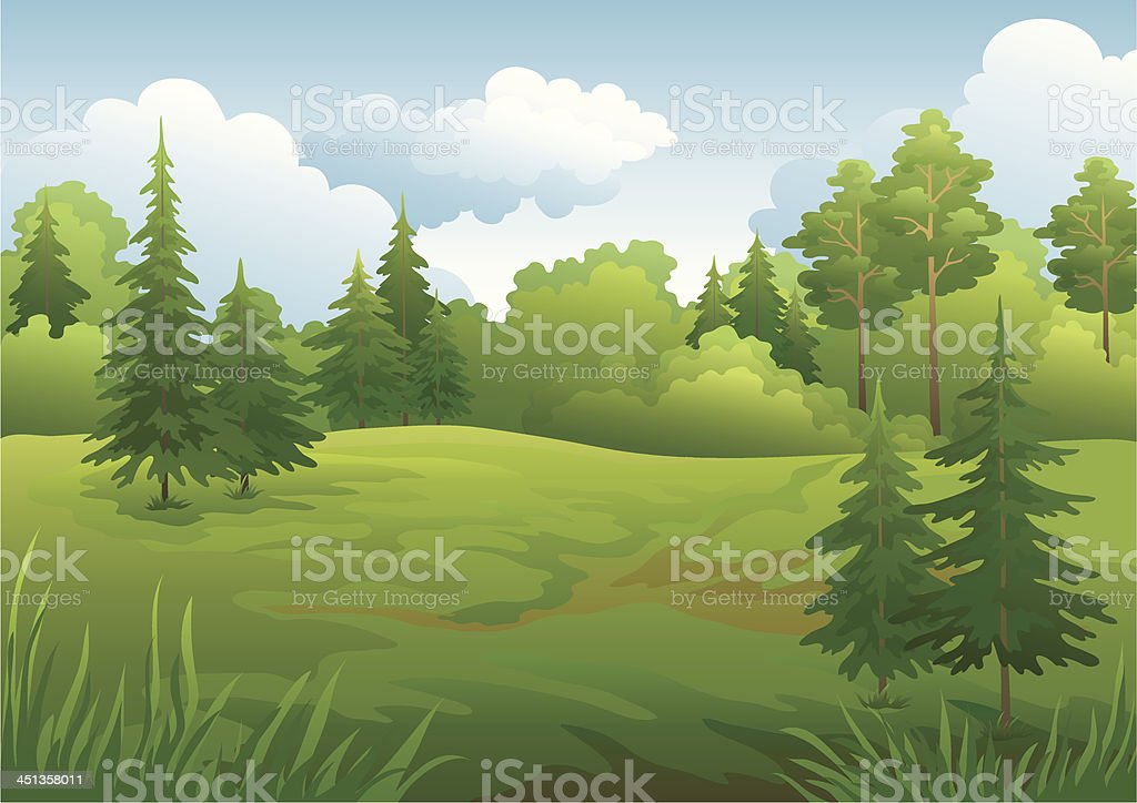 Landscape, summer forest royalty-free stock vector art