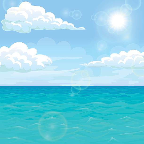 Bекторная иллюстрация Landscape summer sea in the afternoon under sun