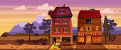 Landscape sunset summer, buildings, home, cafe, countryside, rural view wild west mountains savannah desert
