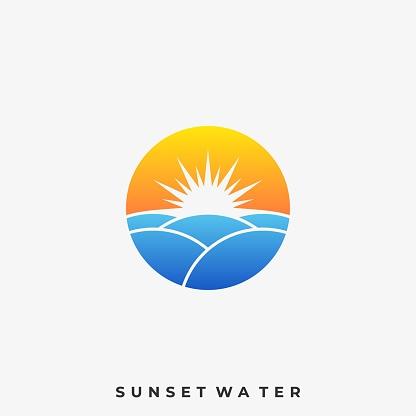 Landscape Sunset With Cloud Illustration Vector Template