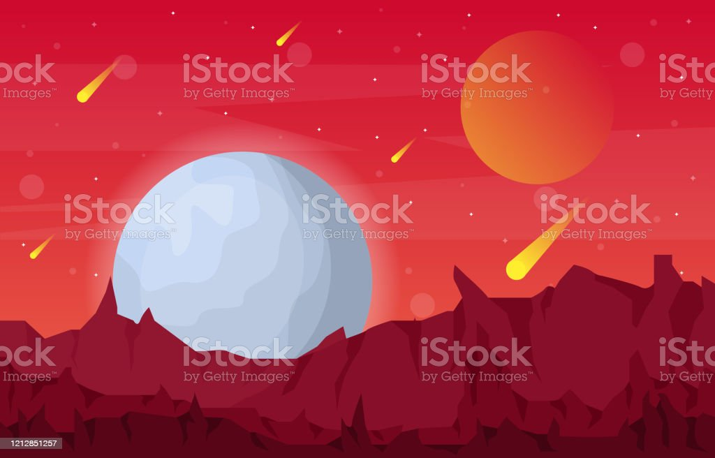 Landscape Surface Of Planet Sky Space Science Fiction Fantasy Illustration Stock Illustration Download Image Now Istock