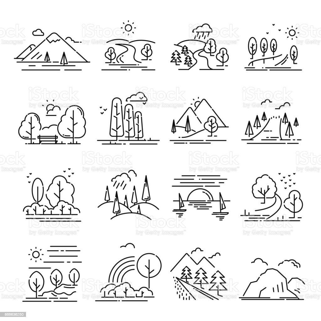 Conjunto de fina línea de paisaje - ilustración de arte vectorial