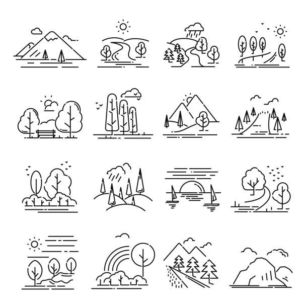 ilustrações de stock, clip art, desenhos animados e ícones de landscape thin line set - isolated house, exterior