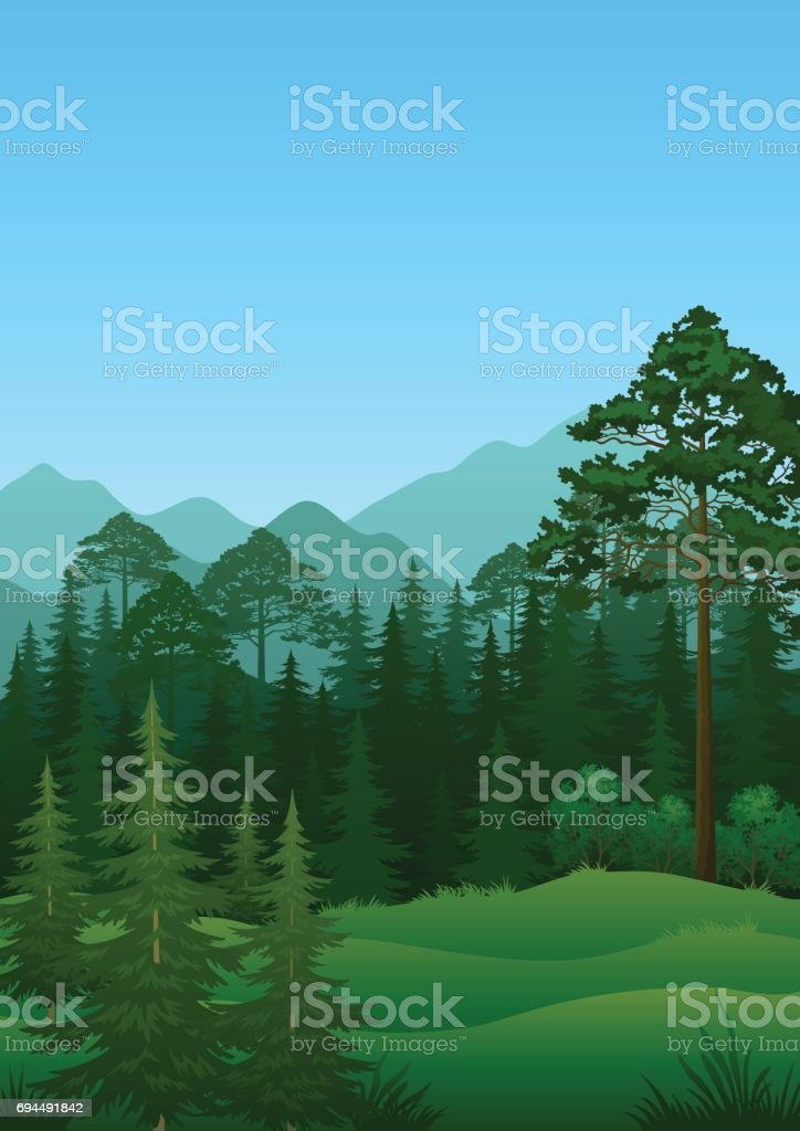 Landscape, Trees and Mountains vector art illustration