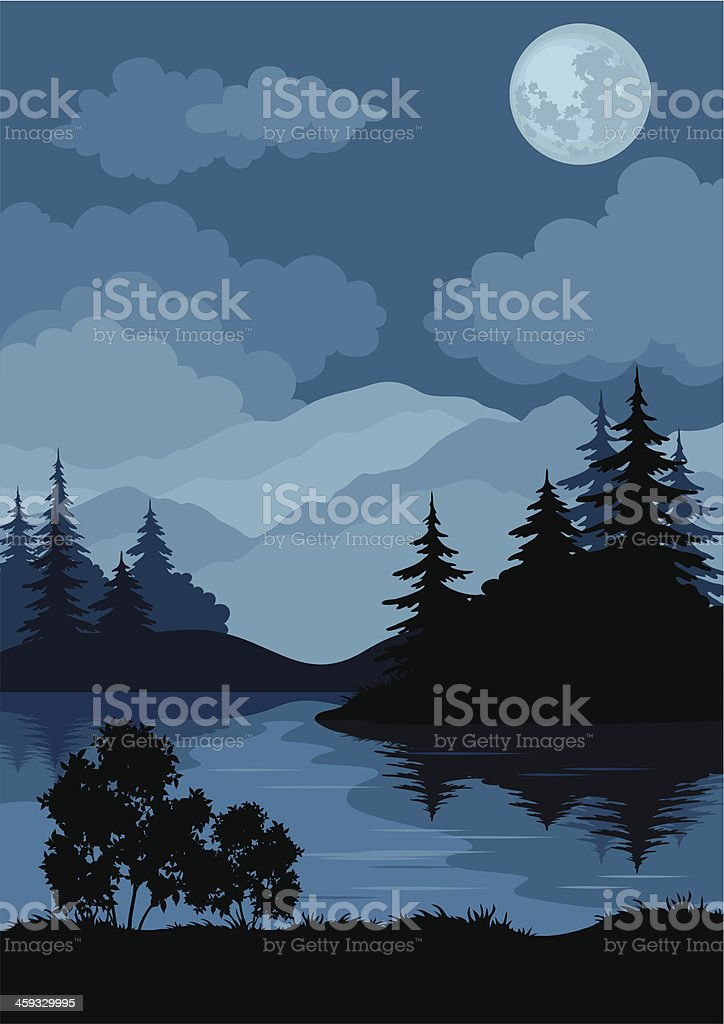 Landscape, trees, moon and mountains royalty-free landscape trees moon and mountains stock vector art & more images of black color