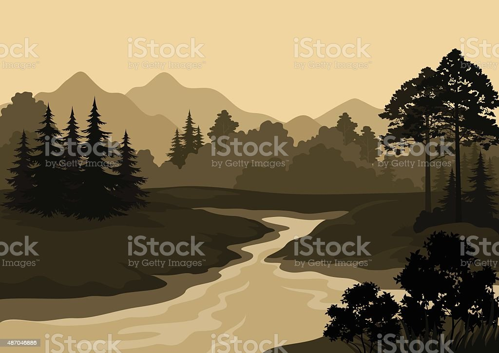 Landscape, Trees, River and Mountains vector art illustration