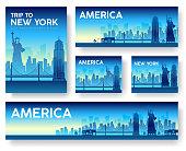 USA landscape vector banners set. USA icons. USA posters. USA banners. USA flyer. Flat USA brochure with typography. USA invitation. USA cards. USA mock up. USA label. Japan night. USA new york city.