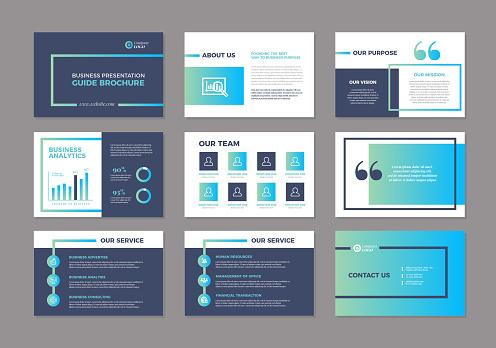Landscape Vector Business Powerpoint / Keynote Presentation Guide Template Brochure
