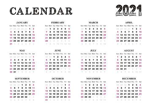 Landscape vector Calendar template 2021, blank new year