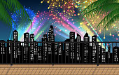view of colorful light and firework in the city