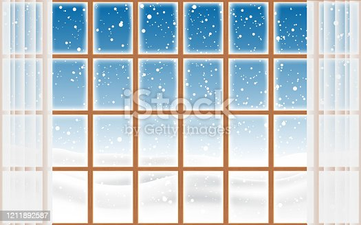 landscape of snowing at the wooden window
