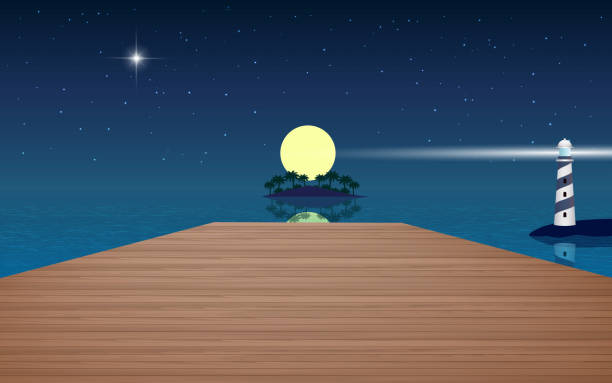landscape wooden bridge on the beach in the night horizon over water stock illustrations